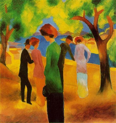 august painting and drawing motionista in a green jacket by august macke artinthepicture
