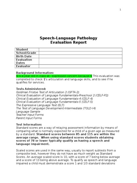 Speech Therapy Report Templates From Asha Slp Report Word Vocabulary