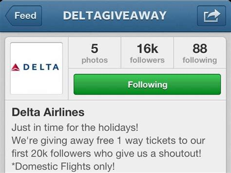 Free Instagram Account Giveaway - fake instagram airline giveaways business insider