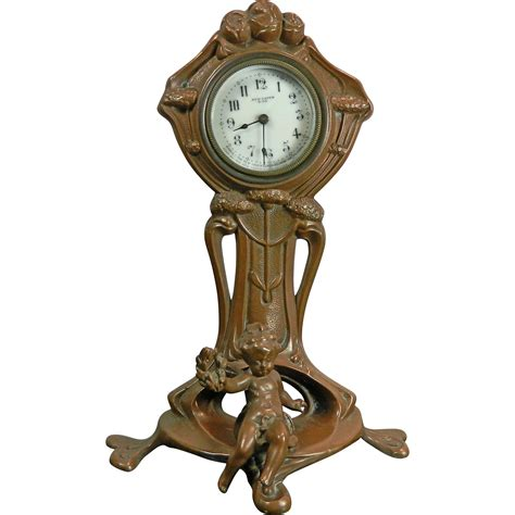 Clock L Stand antique nouveau bronze stand clock usa early 20th shop of treasures