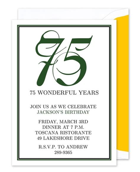 75th birthday invitation templates free sle detail birthday invitation templates