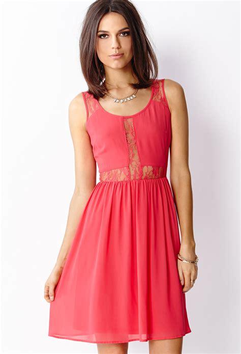 Forever21 Lace Dress forever 21 chiffon lace dress in pink lyst