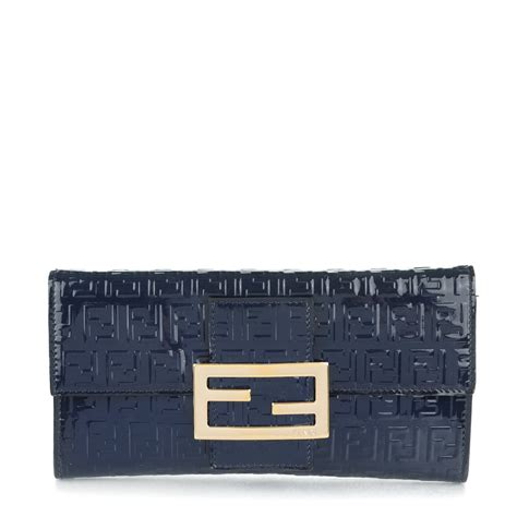 Fendi Wallet Navy Fendi Patent Zucchino Continental Wallet Navy 167435