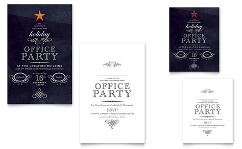 christmas invite wording for the office template office note card template design
