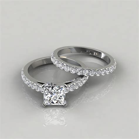 shared prong princess cut engagement ring and wedding band