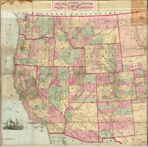 map of western united states watsons new county and rail road map of the western states and territories published by d