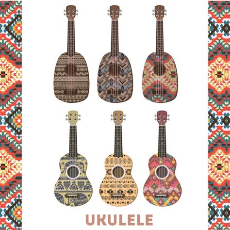 colorful ukulele colorful ukulele set vector free