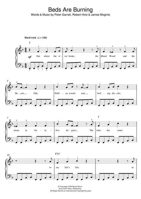beds are burning sheet by midnight beginner