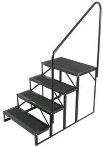 rv stairs with handrails econo porch trailer step with handrail and landing