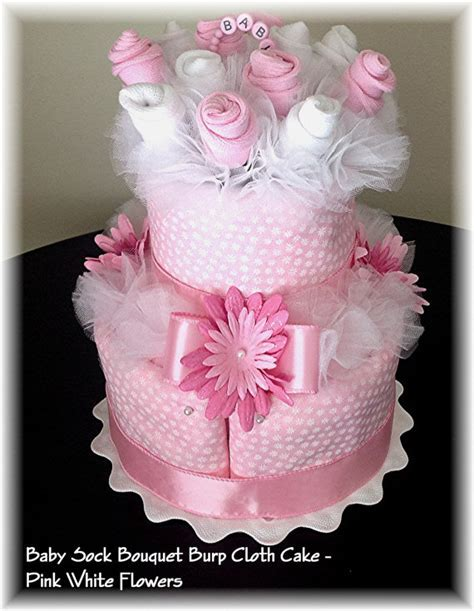 2 Tier Baby Sock Bouquet Burp Cloth Cake Pink White Flowers