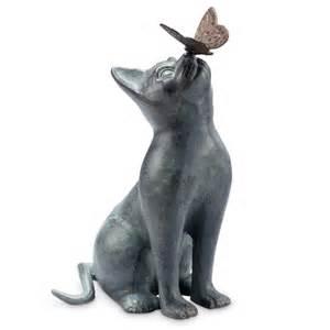 curiosity cat butterfly garden sculpture metal verdi