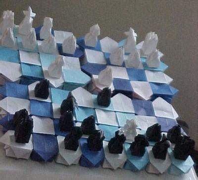Origami Chess Pieces - origami chess set so cool origami chess