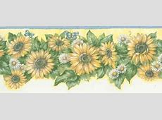 5503950B Sunflower and Daisy Yellow Wallpaper Border ... Kids Room Wallpaper Pattern