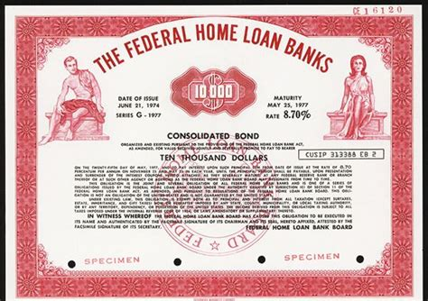 federal bank housing loan federal home loan banks 1974 specimen bond archives
