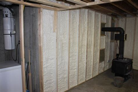 studding a basement insulate a basement wall with closed cell spray foam st