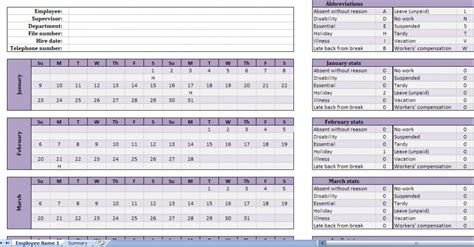 free employee attendance calendar new calendar template site