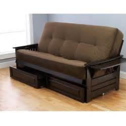 quot espresso wood futon frame drawers mattress sofa quot