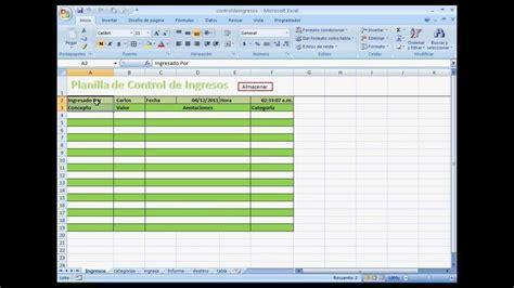 planilla de excel para control de ingresos y egresos planilla de control de ingresos con excel avanzado primera