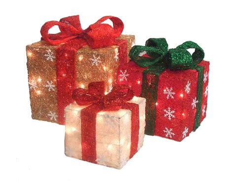set of 3 gold green cream sisal gift boxes lighted