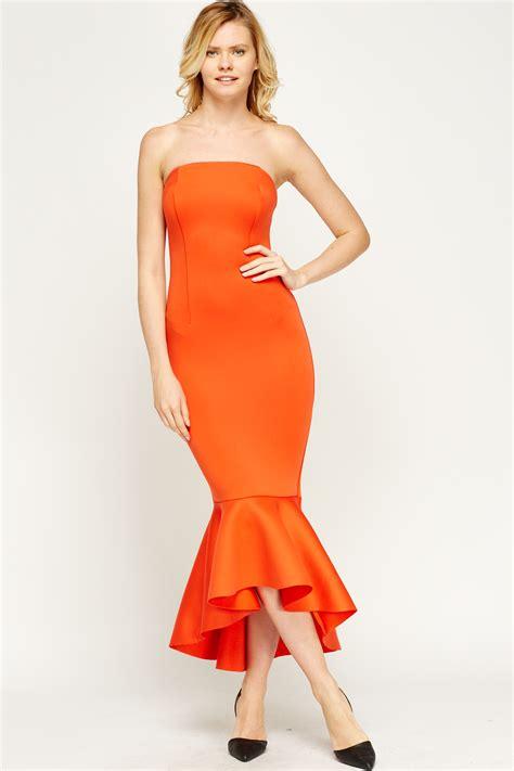 Dress Wanita Maxi Flare Combi flare hem bandeau maxi dress just 163 5