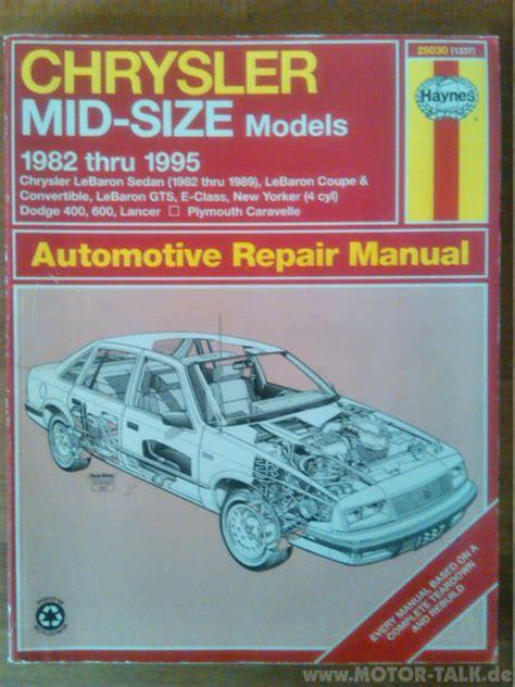 motor auto repair manual 1995 chrysler new yorker auto manual chrysler le baron new yorker plymouth caravelle haynes repair manual no 25030 1337 biete