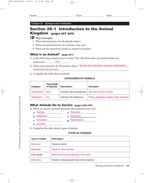 section 26 2 sponges worksheet answers sponges and cnidarians worksheet goodsnyc
