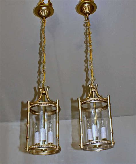 Bamboo Pendant L by Pair Brass Faux Bamboo Pendant Lights For Sale At
