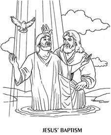 The Baptist Coloring Page jesus baptism by the baptist coloring page children