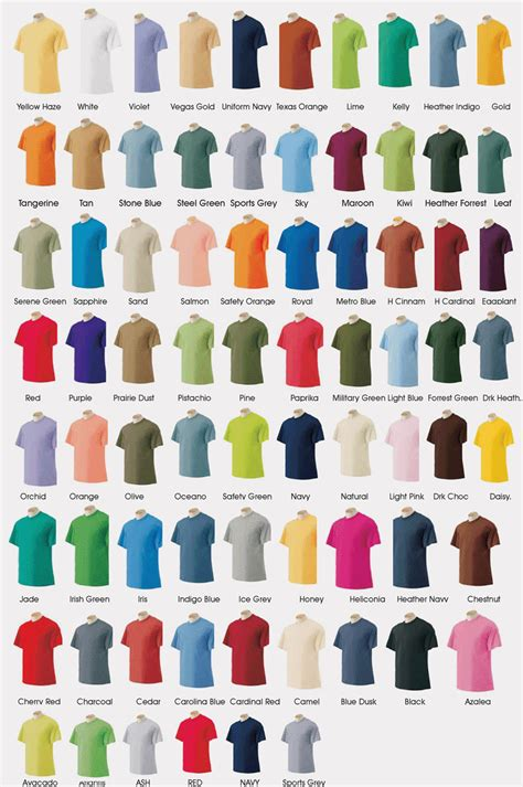 gildan t shirt color chart integrity shirts custom t shirts in christiansburg