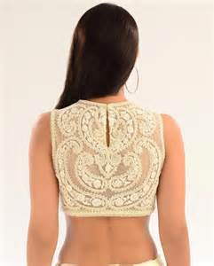 Tie up u neck boat cut work deep back blouse for saree and lehenga