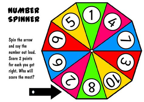 printable spinner with numbers 1 10 recognising numbers 1 10 resources numeracy maths early