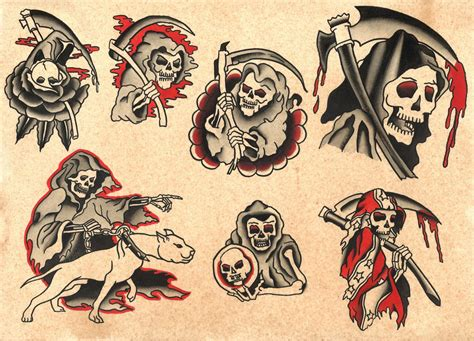 traditional style tattoos traditional style grim reaper flash sheet print