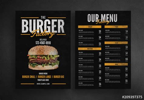 Burger Restaurant Menu Layout Buy This Stock Template And Explore Similar Templates At Adobe Adobe Menu Templates