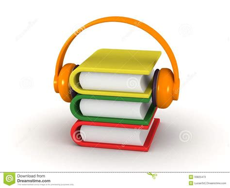 audio picture books free audiobook concept 3d books and headphones stock