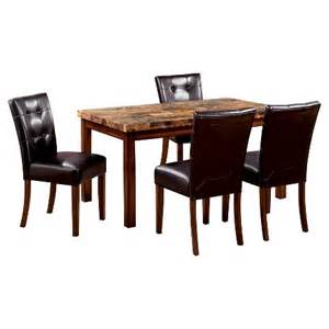 Faux Marble Dining Table Set 5 Faux Marble Top 48 Quot Dining Table Set Woo Target