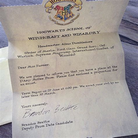 Hogwarts Acceptance Letter Prom Alyce Prom Ultimate Promposals Ideas Quot No Brainer Quot Ways To Ask