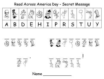s day secret message worksheet celebrate read across america day and dr seuss birthday