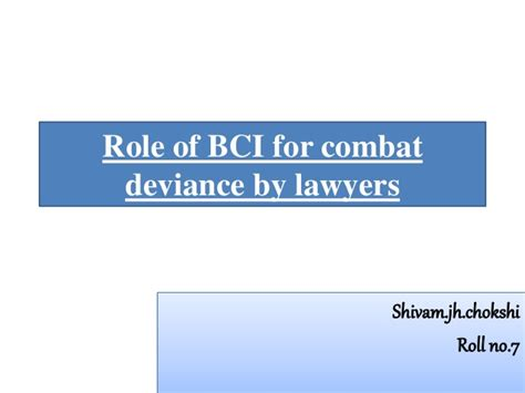 Mba Concepts For Lawyers by Of Bci For Combact Deviance By Lawyers