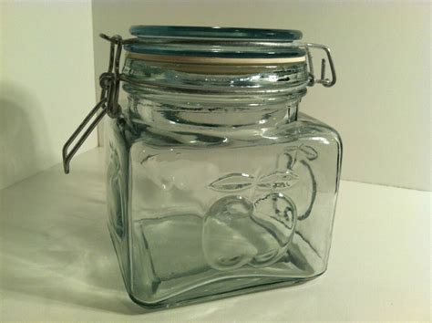 clear kitchen canisters clear glass embossed apple decorative kitchen storage canister w latching lid ebay