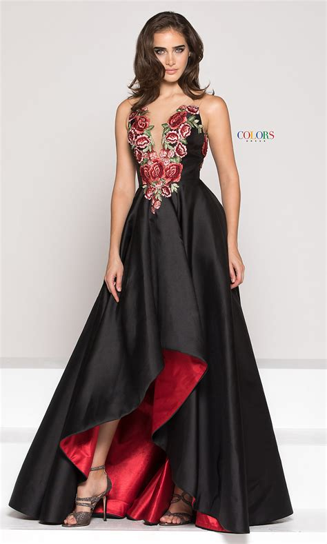 floral embroidered high  prom dress   neck