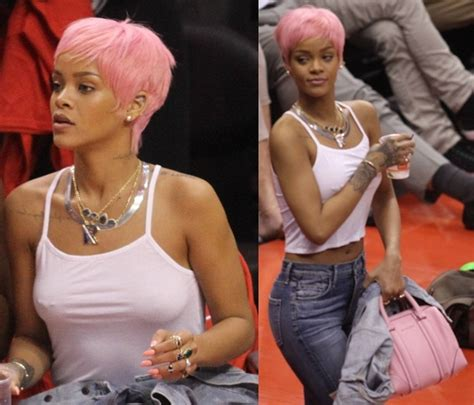 haircut games with clippers rihanna debuts pink pixie hair and exposes nipples at