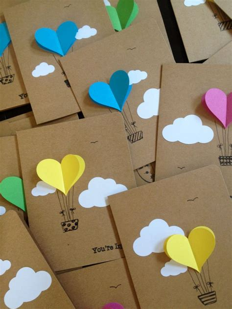 Handmade Air Balloon - air balloon cards balloon invitation with
