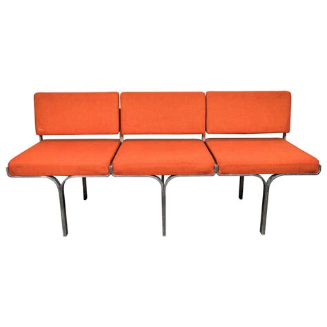 orange leather bench an erwin and estelle laverne three seat orange bench at