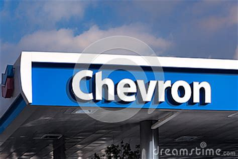 chevron gas station canopy and sign editorial image
