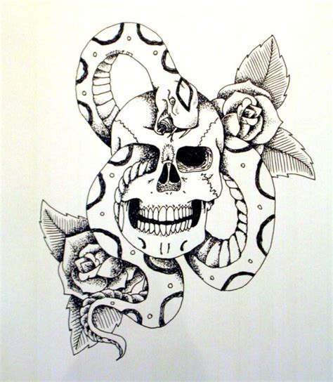 skull rose snake tattoo skull snake and roses by of on deviantart