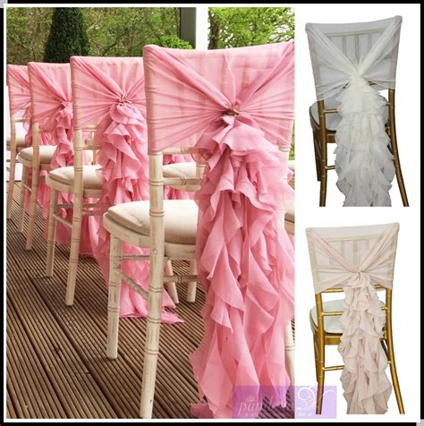 fancy wedding chairs fancy chiffon ruffled wedding chair covers chair sash