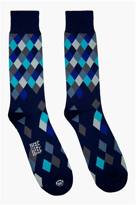 Diamond Pattern On Socks | paul smith navy diamond pattern socks in blue for men lyst