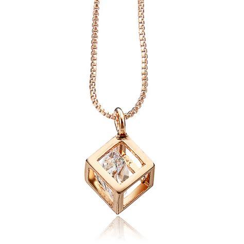 italina austrian zircon square pendant necklace