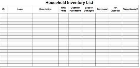 home listing template excellent home inventory sheet for household contents and