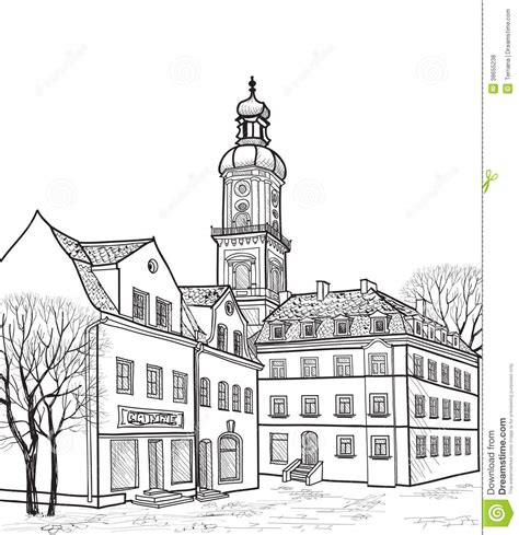 city background coloring page pedestrian street in old town sketch perspective stock